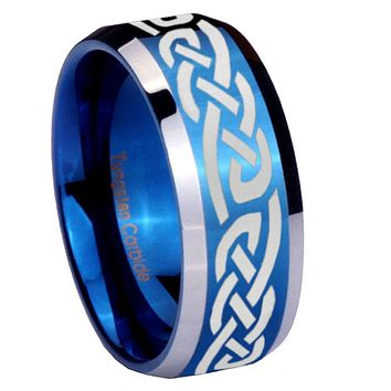 8mm Celtic Knot Infinity Love Beveled Edges Blue 2 Tone Tungsten Mens Ring Engraved