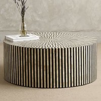 Rounded Inlay Coffee Table by Anthropologie Black & White One Size Furniture