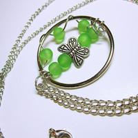 Original Butterfly Design Green Pendant Necklace NECKLACE JEWELRY