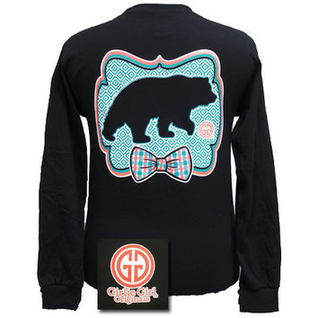 Girlie Girl Originals Preppy Black Bear Bow Bright Long Sleeves T Shirt