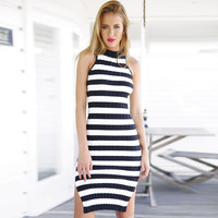 Navy White Striped Sleeveless Knitted Bodycon Midi Slit Dress