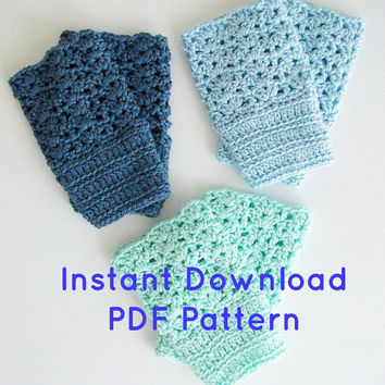 Easy Crochet Pattern Sassy Shell Boot Cuffs PDF Instant Download Boho Romantic Vintage Style