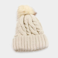 Women's Beige Cable Knit Faux Fur Pom Pom Beanie Hat