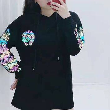 """""""Chrome Hearts"""" Woman's Leisure Fashion Letter Luminous Personality Printing Hooded Long  Sleeve Casual Motion T-Shirt Tops"""