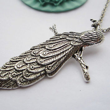 necklaceantique silver peacockalloy necklace by laceinspring
