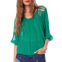 Cut and Pleats Top in Green :: tobi