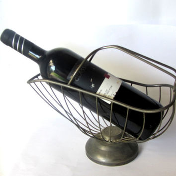 Wine bottle holder. Metal wine basket. Wine carrier. Wine pourer. Vintage.