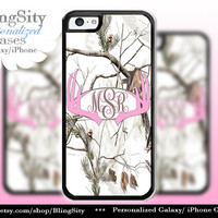 Pink Antlers Monogram Iphone 5C case Browning iPhone 5s iPhone 4 case Ipod 4 5 case White Camo Deer Personalized Country Inspired Girl