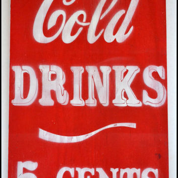 Custom Wood Sign, Cold Drinks Sign, Vintage Themed Sign, Personalized Kitchen Decor, Retro Sign, Bar Sign,Vintage Kitchen, Retro Decor