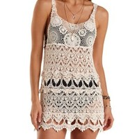 Sheer Crochet Shift Dress by Charlotte Russe