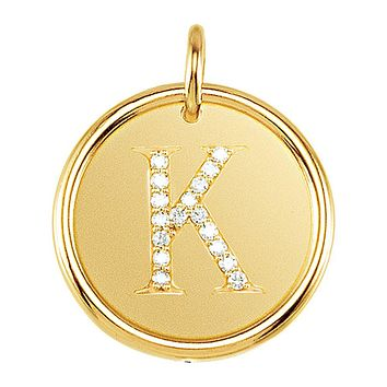 .085 Ctw G-H, I1 Diamond initial 17mm 14k Yellow Gold Pendant Letter K