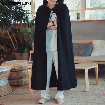 INCERUN Men's Cloak Vintage Long Outerwear Cotton Hooded Solid Color Trench Coat Streetwear Baggy Male Cape Windbreaker 2018