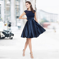 Black Cocktail Dresses Ever Pretty HE06113 Sexy Bowtie Round Neck Cap Sleeves Ruffles Satin Women knee length