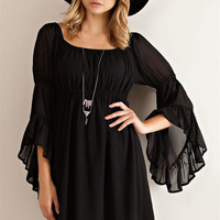 Ruffled Sleeve Empire Dress - Black
