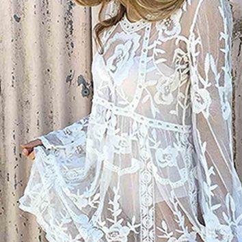 Gypsy Princess Sheer Mesh Lace Floral Pattern Long Sleeve V Neck Midi Dress - 2 Colors Available