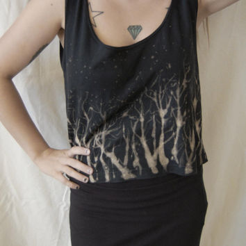 forest screen print top ~ bleach top ~ handmade ~ one of a kind