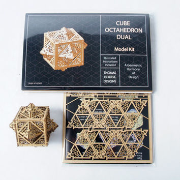 DIY Model Kit Cube Octahedron Dual, Sacred Geometry