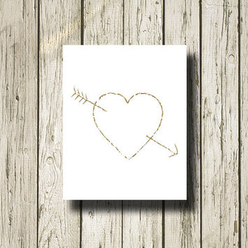 Heart Arrow LOVE Gold White Print Printable Instant Download Wall Art Home Decor GC103zwhite