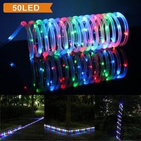 LTE 50 LED Solar RGB Rope Lights, 23ft, 16.5ft rope lights and 6.5ft lead cable included, Outdoor Waterproof LED Solar Rope Lights, Ideal for Decorations,Gardens, Lawn, Patio, Weddings, Parties.(Red/Green/Blue,Multi-color)