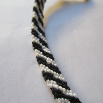 Braided Friendship Bracelet - Zig Zag Zebra