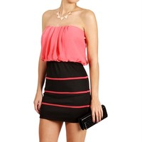 SALE-Black/Coral Contrast Mini Dress