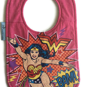 Wonder Woman Bib Girl Baby Shower Gift