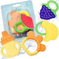 Baby Teething Toys - BPA Free Natural Organic Freezer Safe Teether Set
