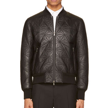 Neil Barrett Black Quilted Leather Bomber Jacket