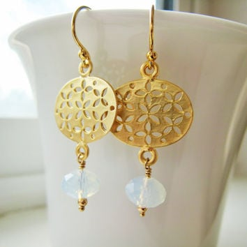 Gold Version As Seen On TV Jane The Virgin Celebrity Style Gold Opalite Dangle Drop Earring Everyday Style Gift Idea For Her Celebrity Style