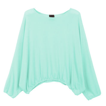 LE3NO Womens Oversized Batwing Sleeve Round Neck Loose Fit Layering Dolman Tunic Top (CLEARANCE)