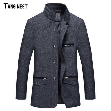TANGNEST New Arrival Men's Fashion Winter Single Breasted Blazer Suit Male Slim Fit New Collar Design Suit MWX125