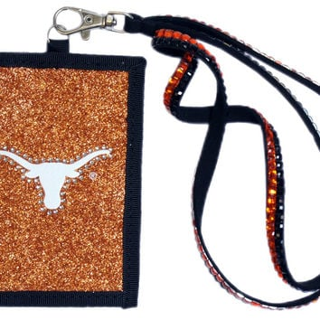 Texas Longhorns Beaded Lanyard Wallet