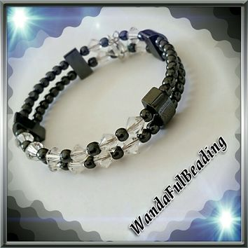 Swarovski Crystal and Black Hematite Petite Two Strand Beaded Memory Wire Bracelet size 7 to 7.5 inches