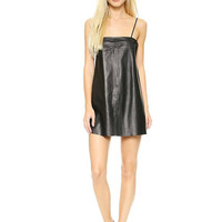 Black Leather Dress with Spaghetti Straps