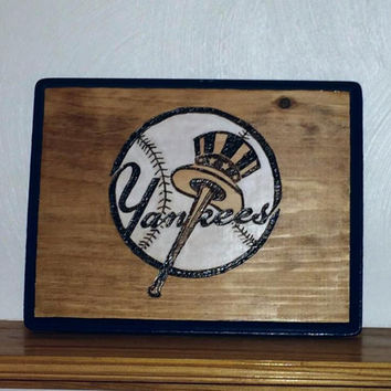 New York Yankees wood burned sign
