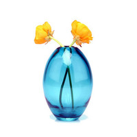 Blue Glass Egg Vase