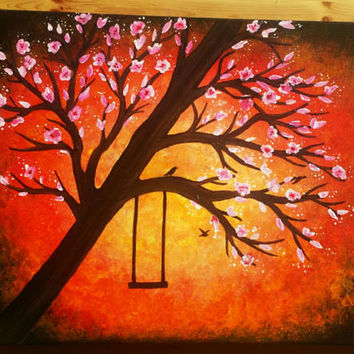 Cherry blossom tree painting, acrylic painting of a tree, bright wall decor, hand painted paintings, tree with a swing art, tree wall decor