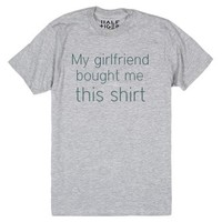 My girlfriend bought me this shirt-Unisex Heather Grey T-Shirt