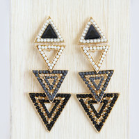 4 Piece Beaded Triangle Earrings