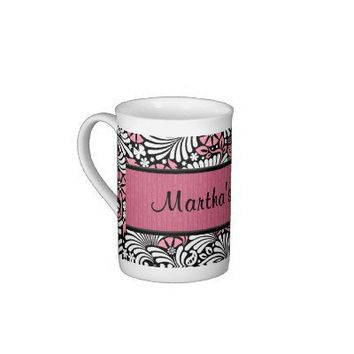 Personalized Pink Fern Bone China Mug from Zazzle.com
