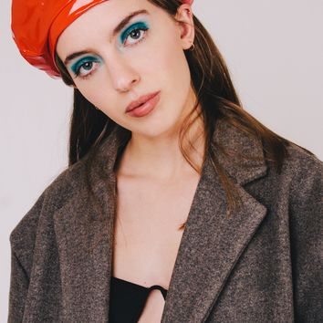 Star Vinyl Beret Hat | Red
