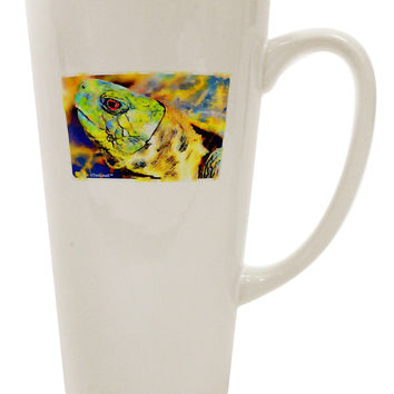 Menacing Turtle Watercolor 16 Ounce Conical Latte Coffee Mug