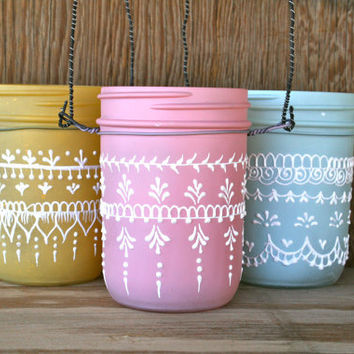 Set of 3 Hanging Mini Mason Jar Lanterns painted by LucentJane