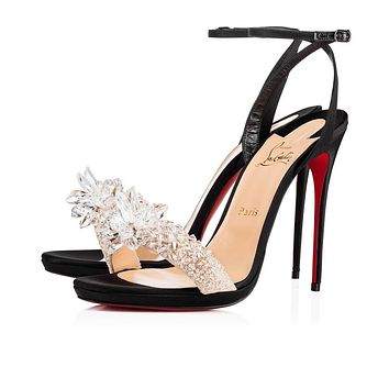 Cl Christian Louboutin Crystal Queen Black Crepe Satin Special Occasion 3170664bk01-1