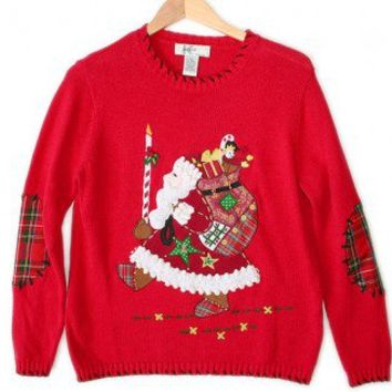 Santa's Big Candle Tacky Ugly Christmas Sweater Women's Size Medium (M) $20 - The Ugly Sweater Shop