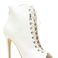 Dollhouse White Lace Up Peep Toe Booties