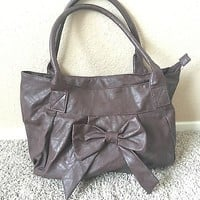 Brown Bow Hobo Bag Purse PU Leather By Rue21
