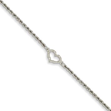 14kt White Gold 10 Inch Rope Chain Hollow Heart Charm Ankle Bracelet