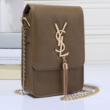YSL Women Shopping Leather Metal Chain Crossbody Shoulder Bag Satchel