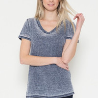 Burnout Charcoal or Red V-Neck Tee